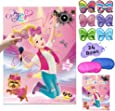 JoJo Siwa Pin The Bow On The Head Party Games – JoJo Siwa Birthday Party Supplies Unicorn Bow Stickers Wall Party Decorations Poster Favors for Kids Girls Boys Outdoor Indoor Activity (24 Bows)