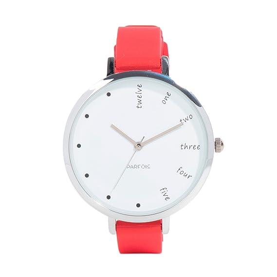 Parfois - Reloj Silver Tray - Mujeres - Tallas Única - Rojo: Amazon.es: Relojes