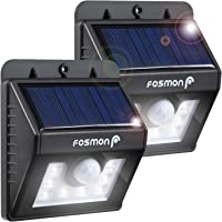 Fosmon Solar Motion Sensor Light Outdoor [8 LED, 80LM, IP64 Weatherproof, 4 Modes, Wireless] Motion Detector Lights for Outside Security Lighting for Deck Patio Porch Steps Backdoor Pool Driveway - 2 Pack