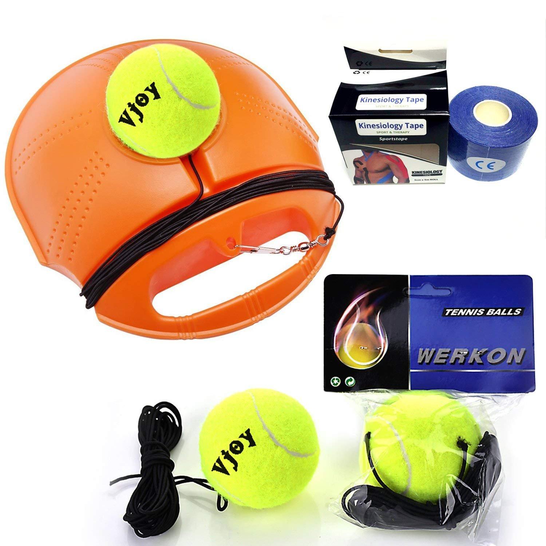 Tennis Trainer Rebound Baseboard, Vjoy Tennis Self-study Practice Training Set Tool Sport Equipment Exercise Tennis Rebound Base + 2 Training Ball + 1 Tennis Bandages