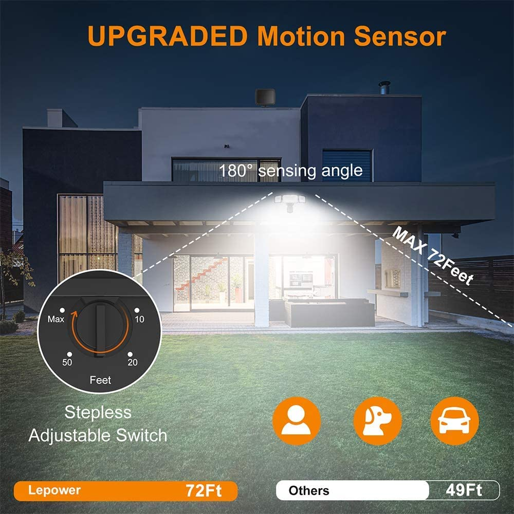 Lepower Solar Security Lights Motion Outdoor 1600lm Solar