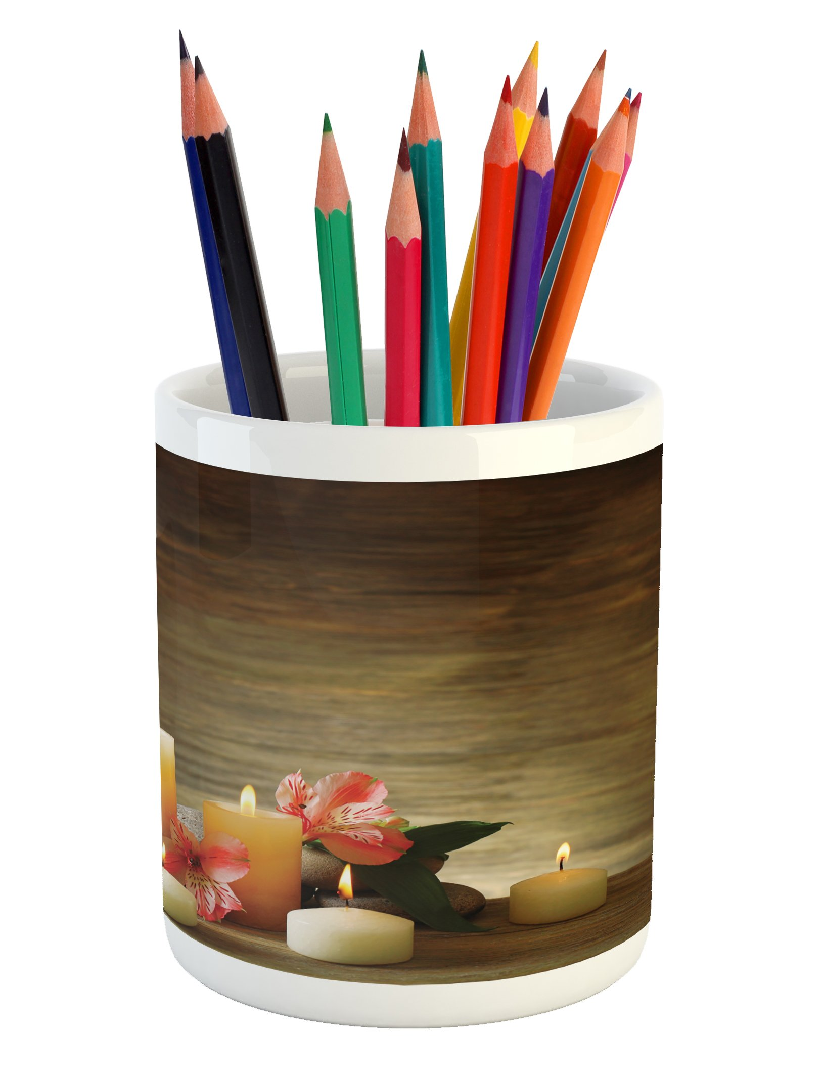 Ambesonne Spa Pencil Pen Holder, Spa Composition with Many Candles Wellbeing Unity Neutrality Icons Calm Happiness Theme, Printed Ceramic Pencil Pen Holder for Desk Office Accessory, Multicolor