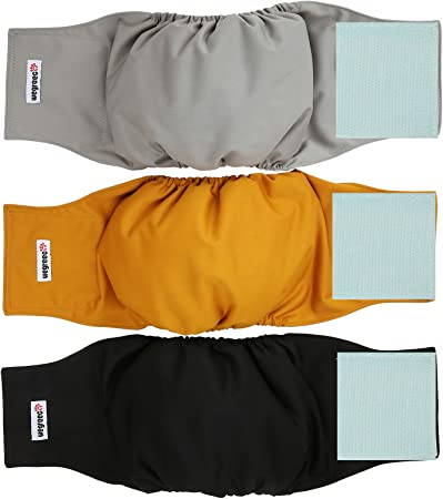 Washable Male Dog Belly Wrap Wegreeco Washable Male Dog Diapers Pack of 3