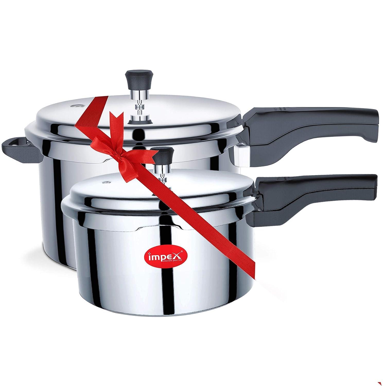 Impex IPC 5&2 Induction Base Aluminium Pressure Cooker Combo (5 & 2 Litre)