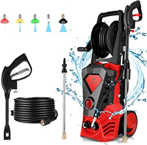 3500PSI Electric Pressure Washer,2.6GPM 1800W Power Washer with 5 Nozzle & Hose Reel,High Pressure Washer, Cleans Cars/Fences/Patios/Garden (Red)
