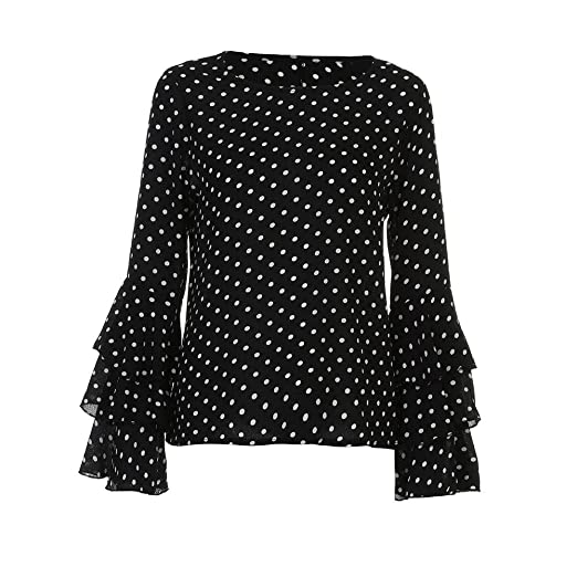 6d9c7bbd00e0 Women Pullover, Bell Sleeve Loose Casual Shirt Polka Dot Blouse Fashion Tops  (Black,