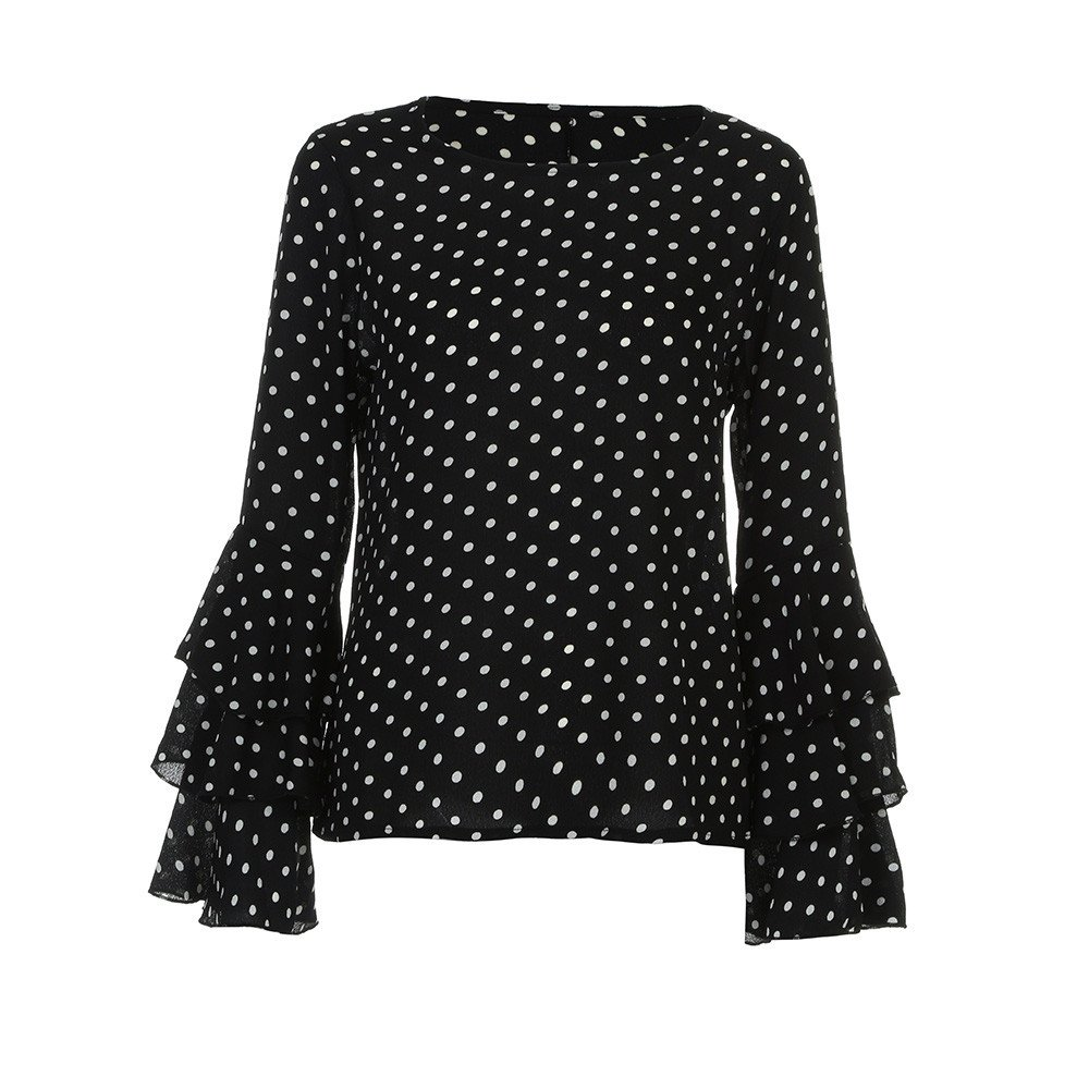 Women's Bell Sleeve Loose Polka Dot Shirt Women's Casual Shirt O-Neck Top Black