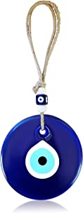 Blue Glass Evil Eye Turkish Nazar Wall Art Home Blessing Wall Decor Amulet, 5 Inches with Extra Beads for Housewarming Gift, New House, Office or Business, Garden, Bedroom, Living Area Space Talisman