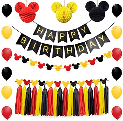 Mickey Mouse Party Supplies Kit Mickey Mouse Theme Decorations Set with Honeycomb Balls Mickey Mouse Paper Garland Happy Birthday Banner 12 Inch Latex ...