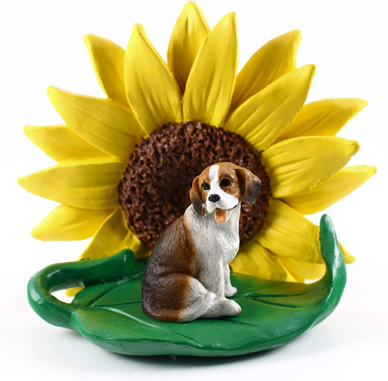 Conversation Concepts Beagle Figurine – Sunflower Statue Gift: Realistic Hand Painted Sculpture, Summer Nursery or Home Office Desk Decor, Spring Shower Present