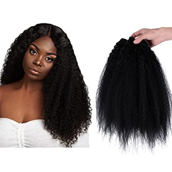 Amazon Com Yonis Kinky Straight Wave Hair Extensions Weft