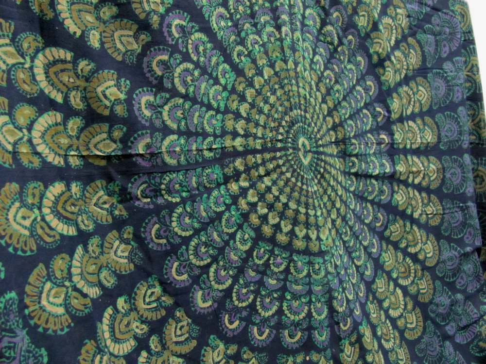 India Navy Blue Handloomed Cotton Mandala Peacock Bedspread Blanket Throw Tapestry 110''x 110'' (King Size) by Rajasthan Cottage (Image #4)