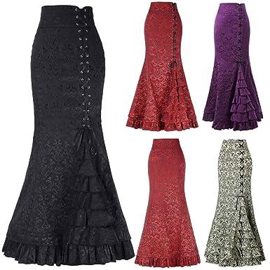 Faldas Medievales para Mujer/💖QIjinlook💖/Faldas Talle Alto ...