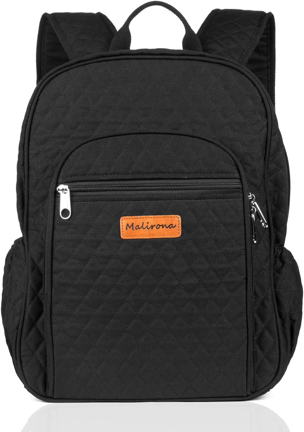 Malirona Canvas Campus Laptop Daypacks Backpack School Bags For Women And Men - Laptop Carrying, Trolley Sleeve, 7 Colors (Black)