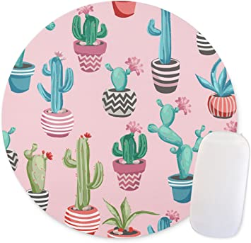 Hand Drawn Watercolor Saguaro Cactus Seamless Pattern Round mosue pad Gaming Mouse pad Non-Slip Mouse pad