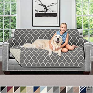 SOFA SHIELD Original Patent Pending Reversible Loveseat Slipcover, 2 Inch Strap Hook, Seat Width Up to 54 Inch Furniture Protector Washable, Couch Slip Cover, Pets, Loveseat, Quatrefoil Charcoal Linen