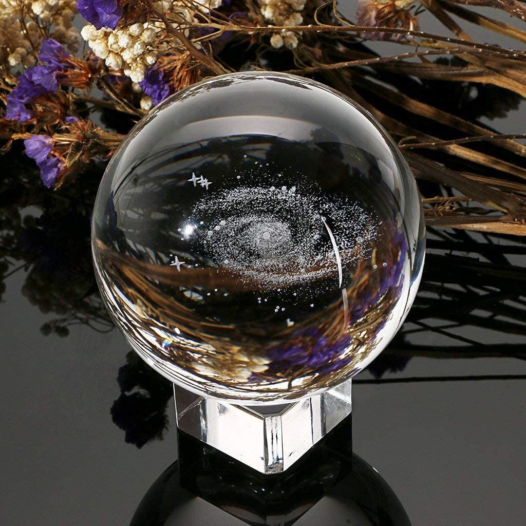 Crystal Ball with Stand Crystal Crystal Stand Galaxy 3D Crystal Ball Display Paperweight Fengshui Crystal Photography Glass Ball for Gift Prop Decoration Art Decor