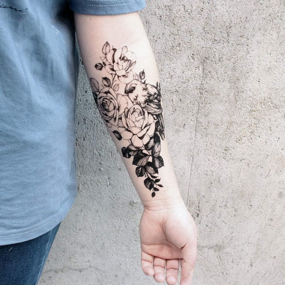 adgkitb 3 Piezas Negro boceto Tatuaje Pegatina Caballo Lobo pájaro ...