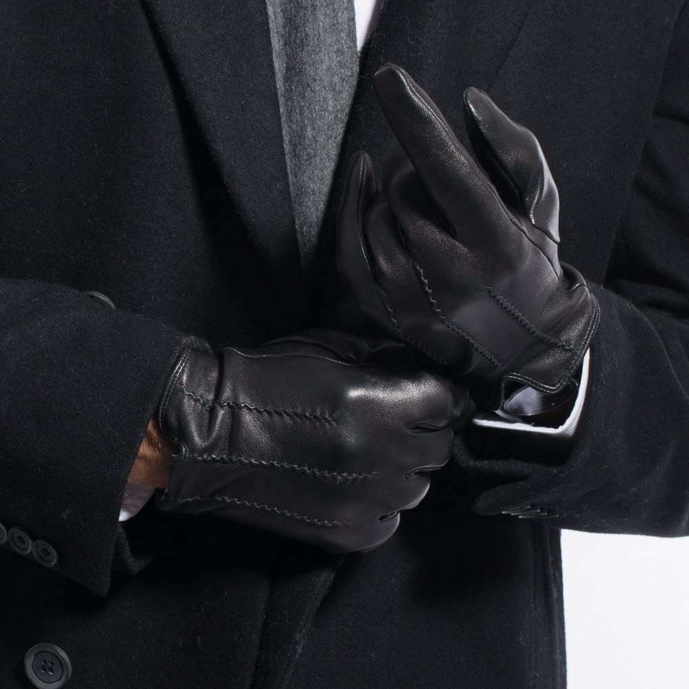 MATSU Classical Men Leather Gloves Winter Warm lambskin Driving M1051