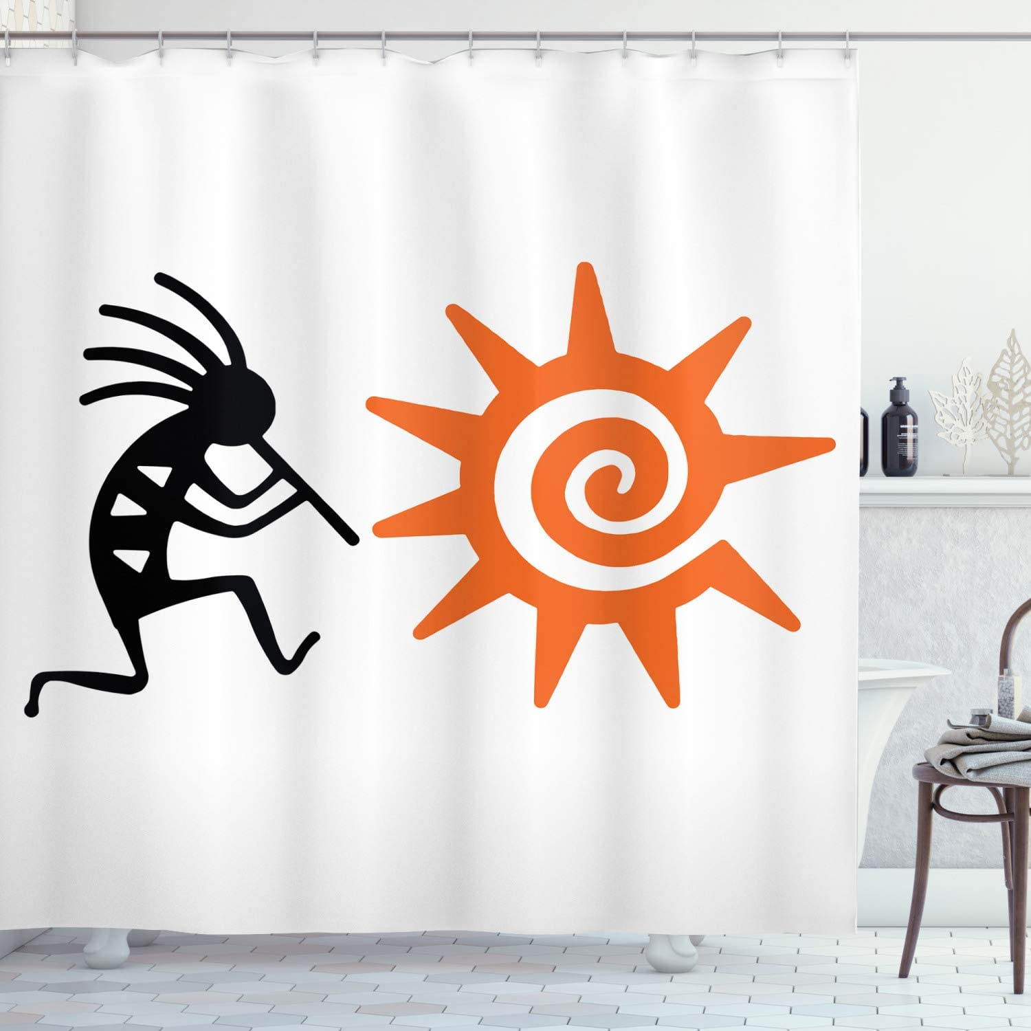 Ambesonne Kokopelli Shower Curtain, Kokopelli and Sun Spirit Music  Childbirth and Agriculture Native Cultural Art, Cloth Fabric Bathroom Decor  Set