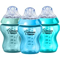 TOMMEE TIPPEE Colour My World Feeding Bottles, Green/Blue/Teal, 260ml (Pack of 3)