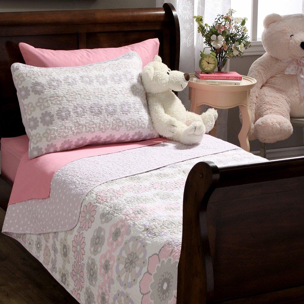 Lola Pink Floral Cotton 2 Piece Quilt and Sham Set Kids Bedding Comforter Bedspreads Twin Size