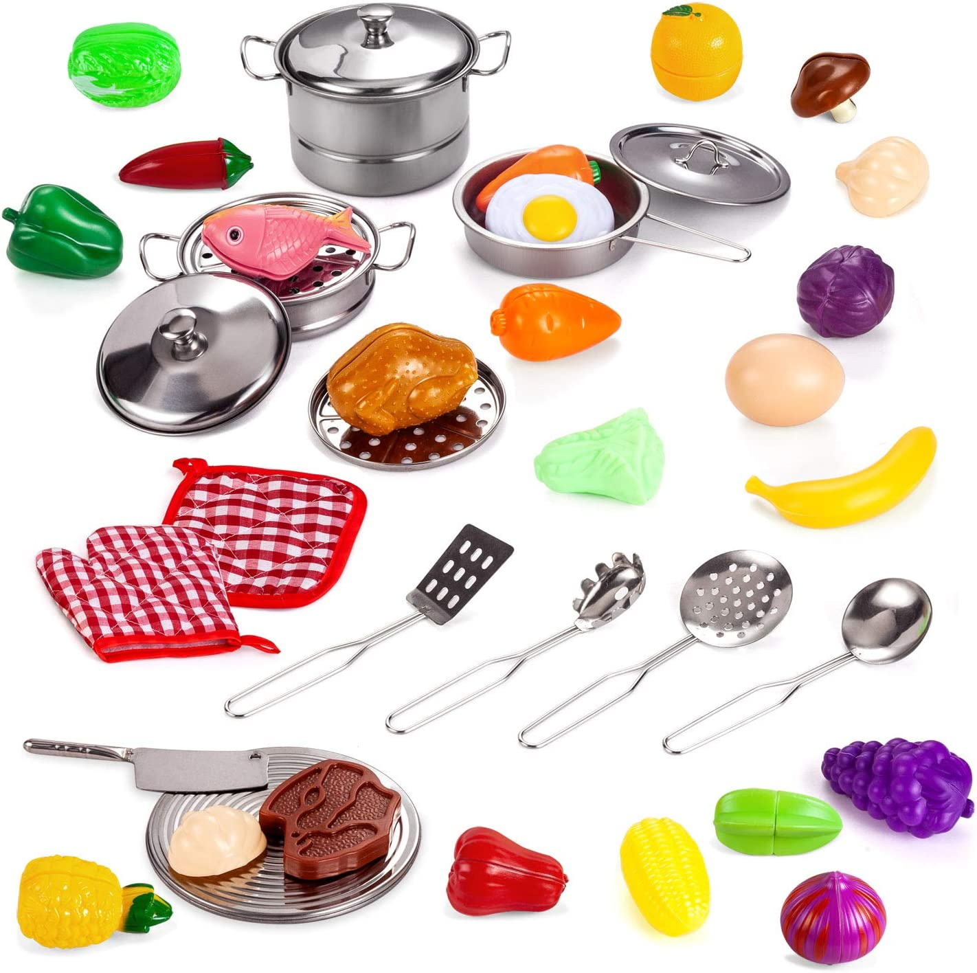Tuko Kitchen Pretend Play Toys with Stainless Steel Cookware Pots and Pans Set, Cooking Utensils, Baking Glove & Rag, Cutting Vegetables for Kids, Girls, Boys, Toddlers