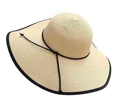a26b8ec034e Urban GoCo Women s Summer Straw Sun Hat Floppy Large Wide Brim Beach Cap  (Beige)