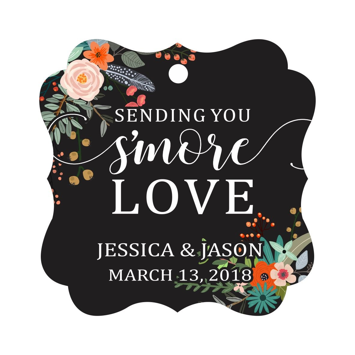 Darling Souvenir Custom Hang Tags Sending You S'More Love Favor Gift Tags Personalized Fancy Bonbonniere Tag-Floral Black-100 Tags