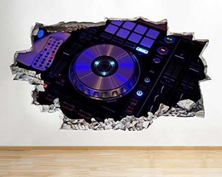 G124 Music DJ Equipment Decks Cool Smashed Wall Decal 3D Art Stickers Vinyl RoomKids Bedroom Baby
