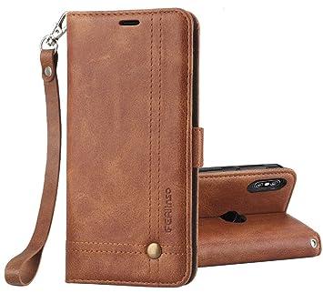 Ferlinso Funda Xiaomi Redmi Note 5, Carcasa Cuero Retro Elegante con ID Tarjeta de Crédito Tragamonedas Soporte de Flip Cover Estuche de cierre ...