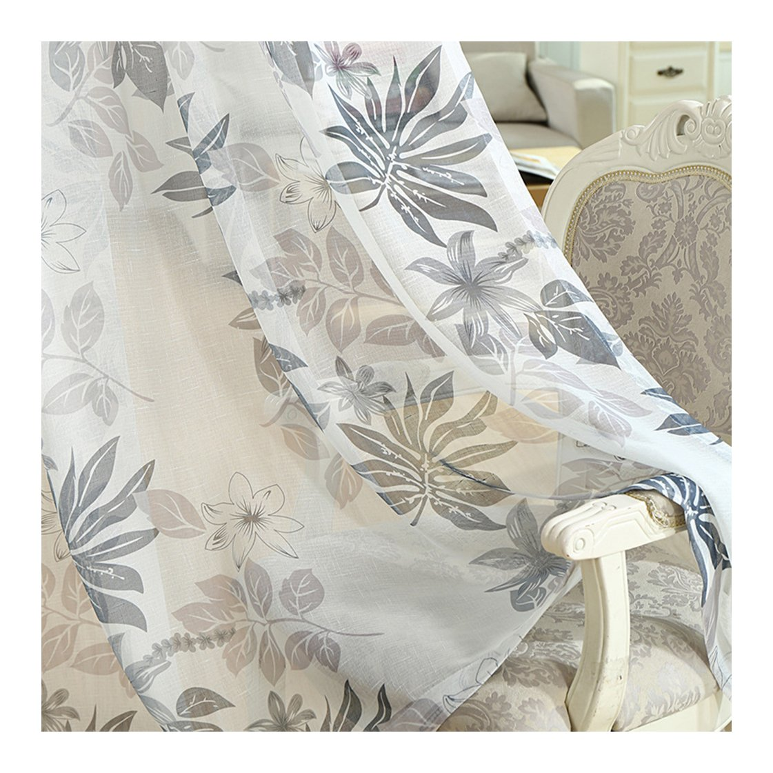Aside Bside Plantain Leaf Printed Rod Pockets Voile Panels Home Treatment Rural Style Sheer Curtains For Houseroom Child Room and Kitchen (1 Panel, W 52 x L 63 inch, White)