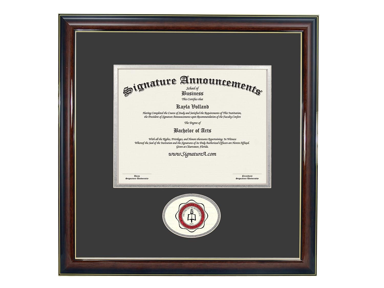 Sculpted Foil Seal Graduation Diploma Frame 16 x 16 Gold Accent Gloss Mahogany Signature Announcements Gardner-Webb-University Undergraduate