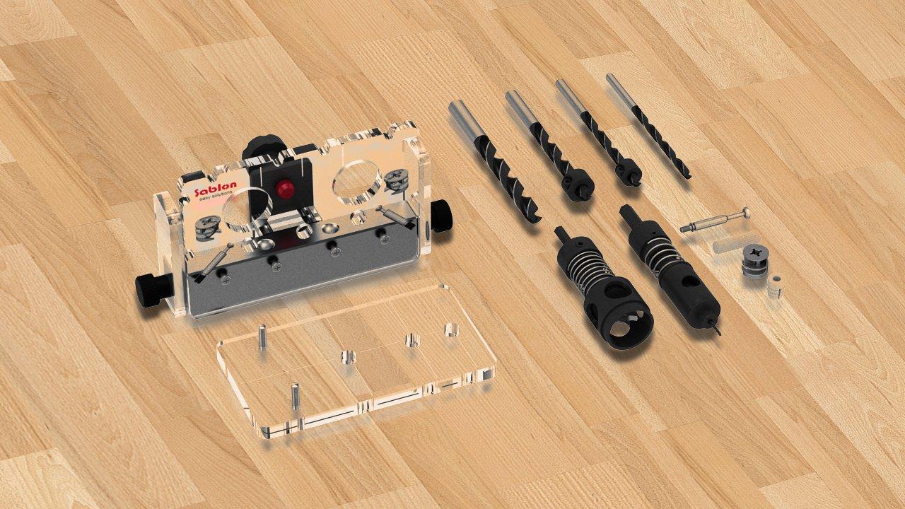 Sablon Minifix & Dowel - Jig de conexión (18 – 19 mm) Aktif Yapi Ltd