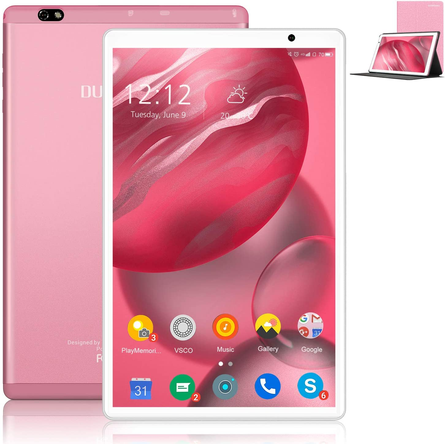 10 Inch Tablet Android 10.0, Octa-Core 1.5Ghz Tablets 64GB ROM (128GB Expansion) 4GB RAM Dual Cameras 8MP 1280800 HD IPS Display, 8000mAh, Wi-Fi, Bluetooth, Google Certified Tablet PC (Rose Gold)