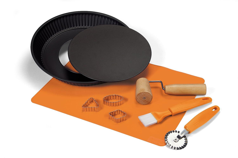 1 Crostata fondo removibile 28cm in Acciaio nero+1tappetino silicone+1rullo+1rotella tagliapasta+1pennello+3tagliapasta Guardini Scatola Regalo-Crostata