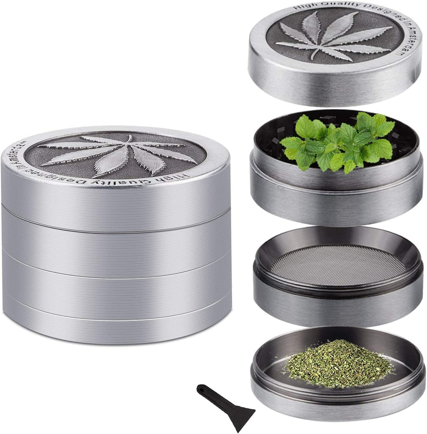 GIVBRO Grinder Small 4 Pieces Premium Zinc Alloy Grinder with a Unique Cabinet Door for Easy Collection
