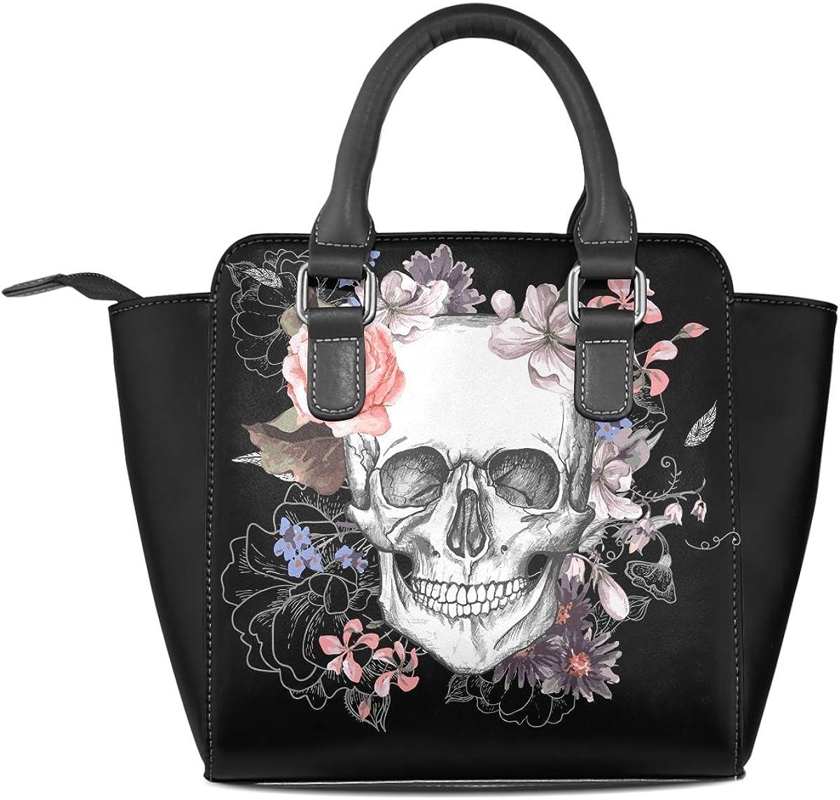 Use4 Womens Sugar Skull Pink Flower Black Rivet PU Leather Tote Bag Shoulder Bag Purse