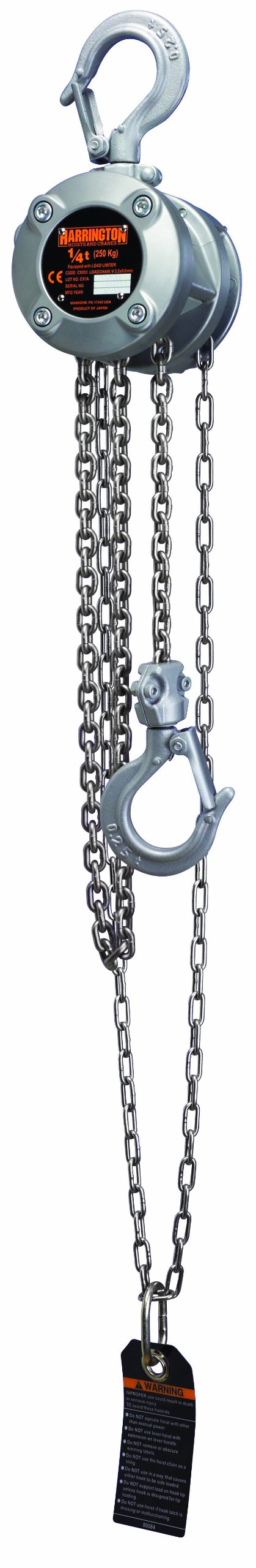 Harrington CX Series Aluminum Mini Hand Chain Hoist, 1/4 Ton Capacity, 20' Lift Height, 16.5' Hand Chain Drop, 8.5'' Headroom by Harrington