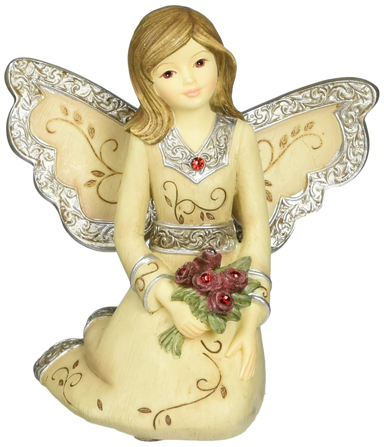 Elements January Monthly Angel Figurine, Includes Garnet Birthstone, 3-Inch