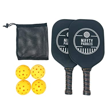 Niffty Sports Premium Pickleball Paddle Set | Two Graphite Face Paddles & Polymer Honeycomb Core |Four Outdoor Pickle Balls & Mesh Bag | Ace Long Handle & Cushion Leather Grip Wrap | Black Edge Guard