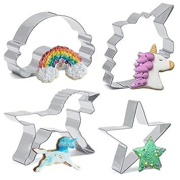 Indes - Juego de 4 galletas de unicornio de acero inoxidable para niños, diseño de unicornio, unicornio, arco iris y estrella: Amazon.es: Hogar