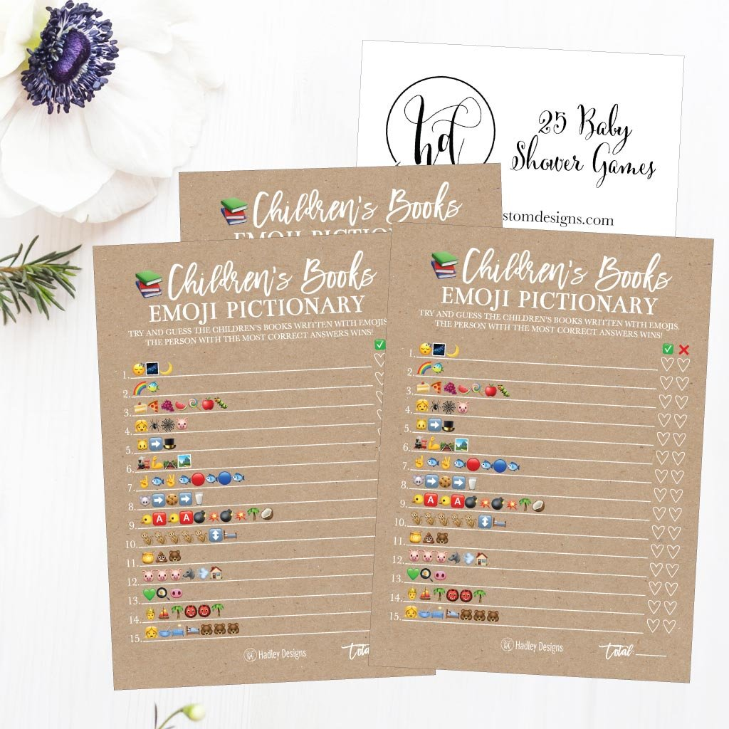 25 Rustic Emoji Children's Books Pictionary Baby Shower Game Party Ideas For Quiz Boy, Girl, Kids, Men, Women and Couples, Cute Classic Bundle Pack Set, Kraft Gender Neutral Unisex Fun Coed Cards by Hadley Designs (Image #4)
