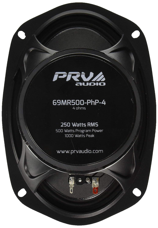 69MR500PHP-4 Single PRV AUDIO 69MR500-PhP-4 6x9 Mid Range 250 Watts RMS 4 Ohms Car Stereo 97dB 1.5 VC Pro Speaker