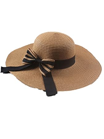 e0e0a7d72f2b3 Amazon.com  LOKOUO New ladies straw hat beach hat summer outdoor hat ...
