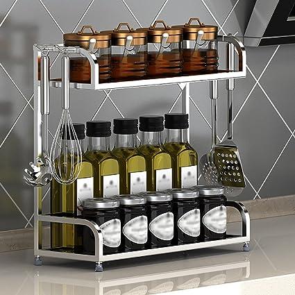 Estantes de cocina Estantería de acero inoxidable Cocina de aterrizaje Estantería de almacenamiento Estantería de especias Estantería de ...