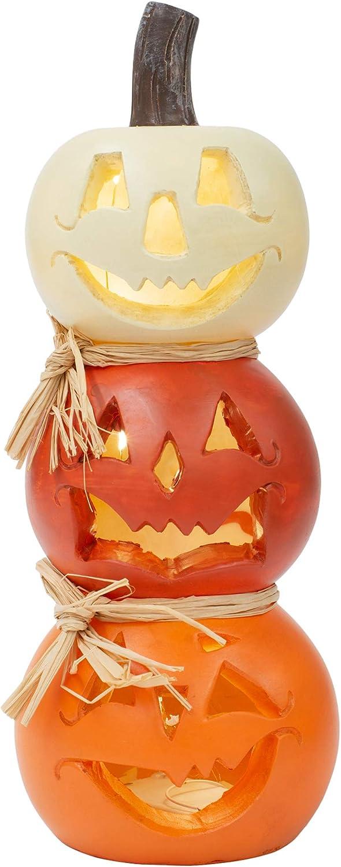 Stacked Jack O Lantern Orange and White 12 x 5 Resin Stone Halloween Figurine