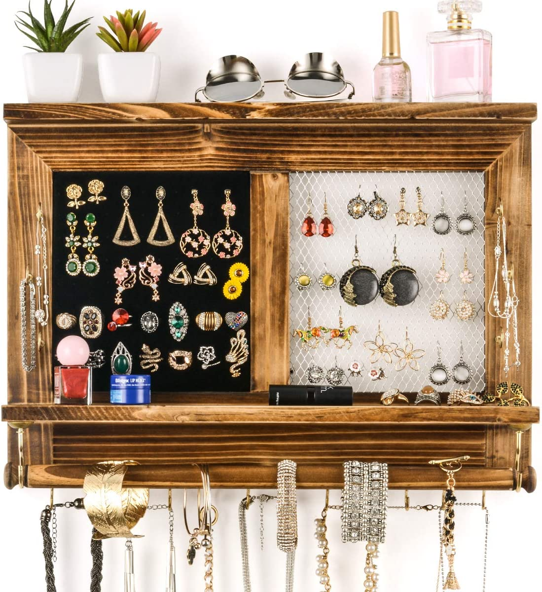 Sunix Rustic Mesh Jewelry Organizer, Wall Mounted Display Hanging Jewelry Holder for Necklace, Earrings, Bracelets with Bracelet Rod, Shelf and Hooks