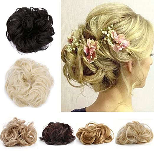 Amazon Com Messy Hair Bun Extensions Hair Piece Curly Hair