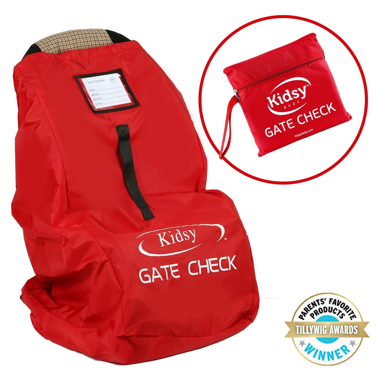 Car Seat Travel Bag for Flight Check In - Backpack Straps, Carry Handle, Storage Pouch and Zipper Closure - Durable Ballistic Nylon - Universal Fit - by Kidsy